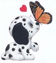 Ruth Morehead - White & Black Spotted Dalmation Puppy with Monarch Butterfly & Heart Art Drawings Sketches, Cartoon Drawings, Cartoon Art, Cute Animal Drawings, Cute Drawings, Cute Images, Cute Pictures, Cute Clipart, Cute Illustration