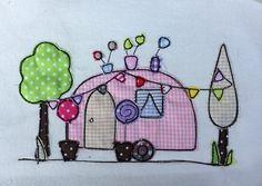 Wohnwagen Doodle Stickdatei