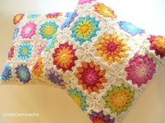 Flower Cushion cover Sunburst Crochet by TheMagicCorner Crochet Cross, Crochet Home, Love Crochet, Crochet Flowers, Crochet Baby, Crochet Owl Pillows, Crochet Pillow Cases, Crochet Cushion Cover, Owl Pillow Pattern
