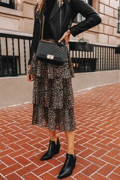 Fashion Jackson Wearing Black Leather Jacket Black Sweater Topshop Leopard Tiered Midi Skirt Black Leather Booties Winter Outfits For Work, Casual Winter Outfits, Leopard Skirt Outfit, Winter Sweater Outfits, Leopard Fashion, Fashion Jackson, Leather Booties, Leather Jacket, College Outfits