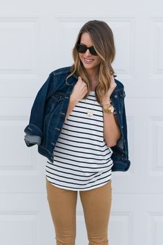 Stripe Tshirt. Camel Pants. Jean Denim Jacket Outfit.