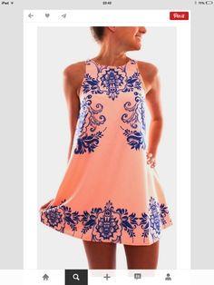 Vestido naranja con appliqués azules!!