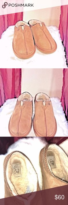 UGG NEUMAN CHESTNUT SUEDE SLIPPERS MEN 8/WOMEN 10 UGG Neuman Chesnut Suede/Sheepskin Slippers Men's 3234 Size 8 WOMEN 10  Excellent Condition men's suede slippers  Leather Imported Dyed sheep fur (Fur Origin: Australia, Ireland, the United Kingdom, or the United States) Synthetic sole Fur vamp lining and UGGpure wool insole lining Soft suede upper, UGG Tasman braid on collar, Foam insole Lightweight and flexible molded EVA outsole UGG Shoes