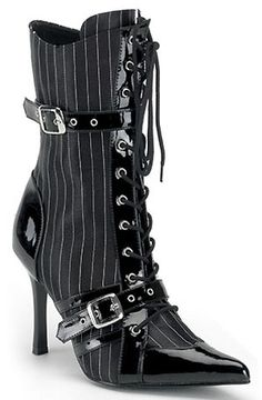 DARING-1022 Satin Pinstripe Boots by Funtasma (Pleaser). Available at http://www.5thfloorproductions.com