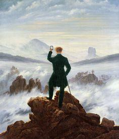 "based on ""Wanderer Above the Sea of Fog"" by Caspar David Friedrich (1818). illustration by Kim Dong-kyu"