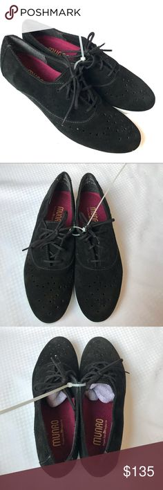 9b938b1a29db Munro Black Suede Perforated Lace-up Oxfords Sz 7