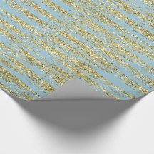Blue Gold Faux Glitter Stripes Wrapping Paper   Zazzle