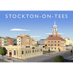 'Stockton on Tees Graphic Art East Urban Home Format: No Frame, Size: 40 cm H x 50 cm W x 1 cm D Railway Posters, Travel Posters, Painting Prints, Fine Art Prints, Stockton On Tees, Buy Prints, Framed Artwork, Graphic Art, How To Draw Hands