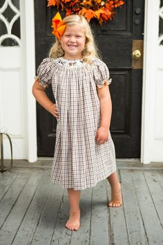 Morning Hunt Bishop Gown, hand smocked.  #smockedclothing #thanksgiving #boutiquekidsclothes
