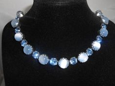Blue Moonglow Rhinestone Necklace by Libbysmomsvintage on Etsy