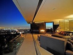 Bedroom at the mansion in the Hollywood Hills.