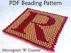 Beaded Peyote Monogram Coaster PDF Beading Pattern