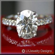 1.75 Ct MOISSANITE OVAL MICRO PAVE ENGAGEMENT RING #Engagementring