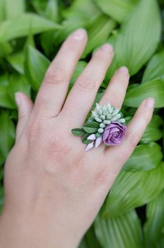 Nature ring for women. Flowers succulent ring for women. Cute Polymer Clay, Fimo Clay, Polymer Clay Charms, Polymer Clay Jewelry, Clay Earrings, Biscuit, Clay Flowers, Gift For Lover, Cold Porcelain Jewelry