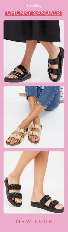 Chunky Sandals, Shoes Sandals, Heels, New Look, Heeled Boots, Trainers, Footwear, Template, Slip On