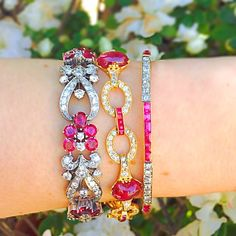 #Ruby Tuesday at @craigevansmall! Our latest arrival of this gorgeous #Tiffanyandco #vintage #diamond and ruby #bracelet from the '40s looks so pretty stacked with our other ruby #bracelets! #CraigEvanSmall #diamonds #vintagejewelry #Tiffany