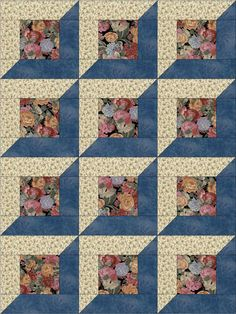 Cute easy to sew quilt kit already pre-cut for 12 quilt blocks. Pieces are cut to size and ready to sew. A variety of flowers in mauve, maroon, gold and blue on a black background. Make a nice blanket