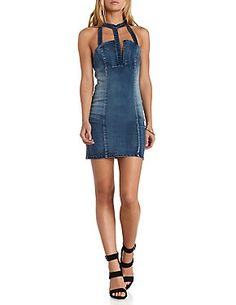 Caged Halter Denim Bodycon Dress