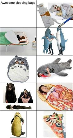 I soooo want the Tauntaun sleeping bag.. but the huge Totoro is also fine with me :D