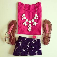 pink sandals + hot pink tank top + white statement necklace + navy/white anchor shorts