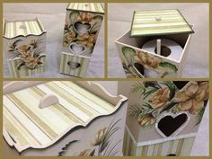 Toilet Paper Holder and Trash Bin Decoupage by CLVLArtsBrazil, $65.00