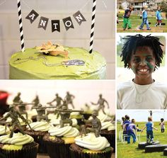 Awesome Army Boot Camp Birthday Party. The cupcakes could be toy story theme too