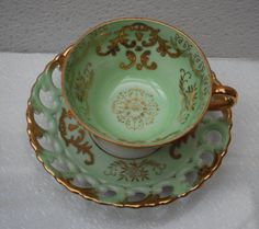 Royal Sealy Japan Tea cup and Saucer Mint by serendipitytreasure, $18.99