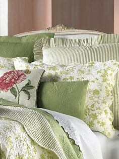 French Country Bedroom Decor and Ideas Neutral french country cottage bedroom furniture just on popi Green Bedding, Bedroom Green, Green Rooms, Home Bedroom, Bedroom Furniture, White Bedding, Bedroom Inspo, Bedroom Colors, Bedroom Ideas