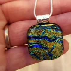 """Ipswich Rivah"""", Holistic Art Glass Pendant with chain"""