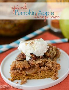 Spiced Pumpkin Apple Dump Cake ~~~ The BEST pumpkin dessert yet! Not posted, but I've made a Pumpkin Apple Pie that was AWESOME. Two perfect Fall ingredients. Gotta love'em in a cake or pie! Crockpot Apple Dump Cake, Apple Dump Cakes, Dump Cake Recipes, Dessert Recipes, Dessert Ideas, Crockpot Meals, Candy Recipes, Fruit Recipes, Best Apple Crisp Recipe