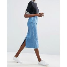 ASOS Denim Midi Pencil Skirt in Mid Wash Blue (2.520 RUB) ❤ liked on Polyvore featuring skirts, midi skirt, blue skirt, high-waisted skirts, pencil skirt and high waisted midi skirt