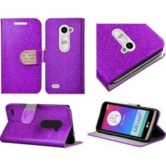 Insten Slim Leather Wallet Flap Pouch Glitter Phone Case Cover with Stand/ Diamond For LG Leon