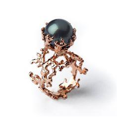 ROSE CORAL Tahitian Pearl Ring Black Pearl Engagement por arosha