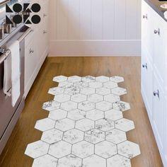 Self adhesive vinyl for floor decorating ideas. Design of marble hexagonal tiles. Hexagon Tiles, Marble Tiles, Kitchen Tiles, Kitchen Flooring, Couch Design, Adhesive Vinyl, Vinyl Flooring, White Marble, Hexagons