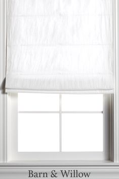 Optic White Roman Shade in a chic flat style. Made of premium Belgian Flax Linen, this custom window shade is hand-stitched by expert hands. Linen Roman Shades, Custom Roman Shades, Custom Windows, Flat Style, White Flats, Window Coverings, New Homes, Hands, Bedroom