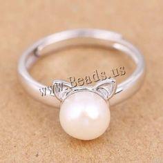 Anillos de Perlas de Freshwater, plata de ley 925, Perlas cultivadas de agua dulce, natural, abrir, 9.50mm, tamaño de anillo:6.5, 5PCs/Grupo, Vendido por Grupo - beads.us