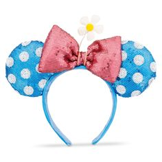 The Retro Blue and White Timeless Minnie Ears are Now on shopDisney