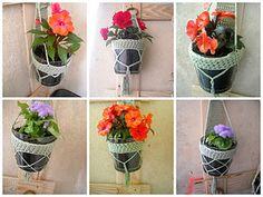 Faux macrame plant holder--free crochet pattern Crochet Plant Hanger, Macrame Plant Holder, Plant Holders, Ravelry, Free Crochet, Garden Accessories, Garden Crafts, Container Gardening, Needlepoint