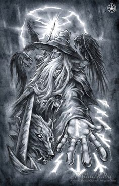 Odin with wolves Geri and Freki and the ravens Huginn and Muninn