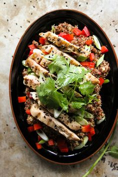 sesame ginger quinoa salad with grilled chicken by Heather Christo