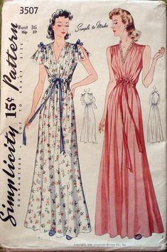 Simplicity 3507 Vintage 1940s Nightgown Pattern