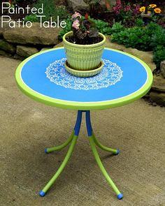 Painted Patio Table - The Scrap Shoppe Painted Patio Table, Stenciled Table, Upcycled Home Decor, Home Decor Items, Table Furniture, Painted Furniture, Furniture Makeover, Wooden Picnic Tables, Patio Tables