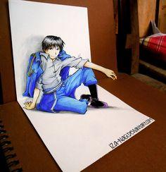 Mind-blowing Perspective Drawing Art by Iza-nagi - iAPDesign. Mustang Drawing, Superman Drawing, Daily Drawing, Drawing Art, Drawing Ideas, Roy Mustang, Fullmetal Alchemist Brotherhood, 3d Drawings, Cute Anime Pics