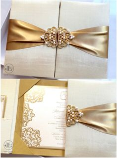 {Mercedes + Renato} Gold Luxury Wedding Invitations  These luxury wedding invitations were created using creams and golds, such an elegant color combo. Lela New York created these try-fold invitations with pockets on the inside to hold their extra cards neatly inside. Gold foil printing was used on her invitation and extra cards to add more of that Midas touch. www.lelanewyork.com