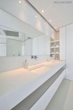 All white design bathroom, lavabo Antonio Lupi. Beautiful Bathrooms, Modern Bathroom, Small Bathroom, Master Bathroom, All White Bathroom, White Bathrooms, Contemporary Bathrooms, Bathroom Toilets, Bathroom Renos