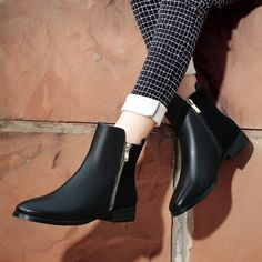 New 2016 Chelsea Casual Shoes Genuine Leather Low Heels Side Zipper Concise Women Shoes Classic and Vogue Size 35-42