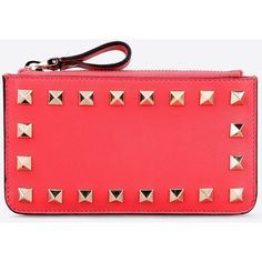 Valentino Garavani Rockstud Key Ring Pouch ($305) ❤ liked on Polyvore featuring bags, wallets, fuchsia, pouch bag, key ring wallet, pouch wallet, studded bag and zip wallet