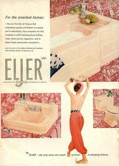 Eljer tub with built in shelf would be super cool in a remodeled retro home, refinished white, to bring it to modern day.  1950s-decorating-style-retro-renovation.com-9