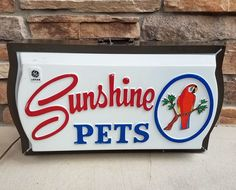 Vintage GE Lighted Sign Sunshine Pets Parrot Advertising Display Blinking Light #GeneralElectric