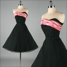 Vintage 1950s Black Plaid Accent Dress.